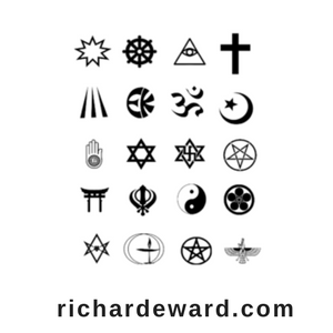 Religion. Religious symbols from around the world