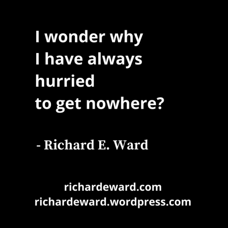 I wonder why I have always hurried to get nowhere? - Richard E. Ward